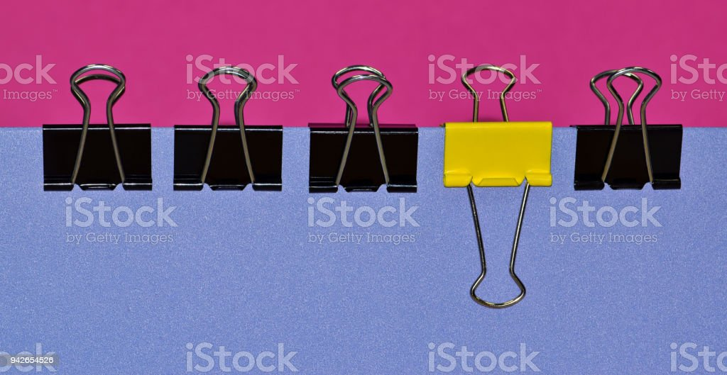Binder clips with contrast and bold colors. stock photo