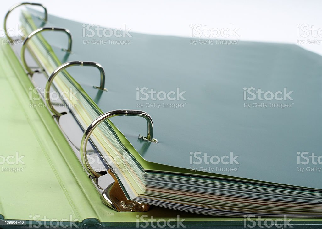 Binder closeup with files stacked royalty-free stock photo