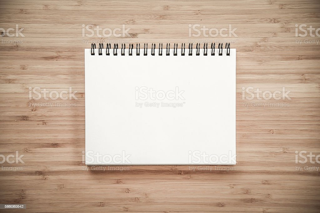 binder notebook on wooden table stock photo