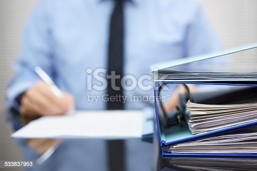istock binders  are waiting to be processed  back in blur 533837953