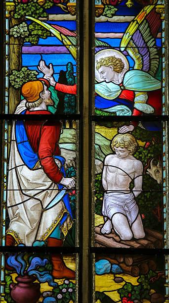 Binding of Isaac on Mount Moriah by Abraham stock photo