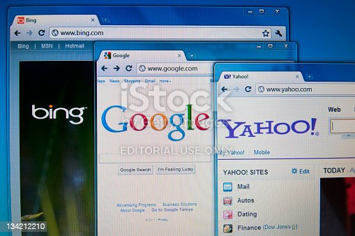 Istanbul, Turkey - April 24, 2011: Bing.com, google.com and yahoo.com main pages in Internet Explorer.They are the most-used search engines on the Web.