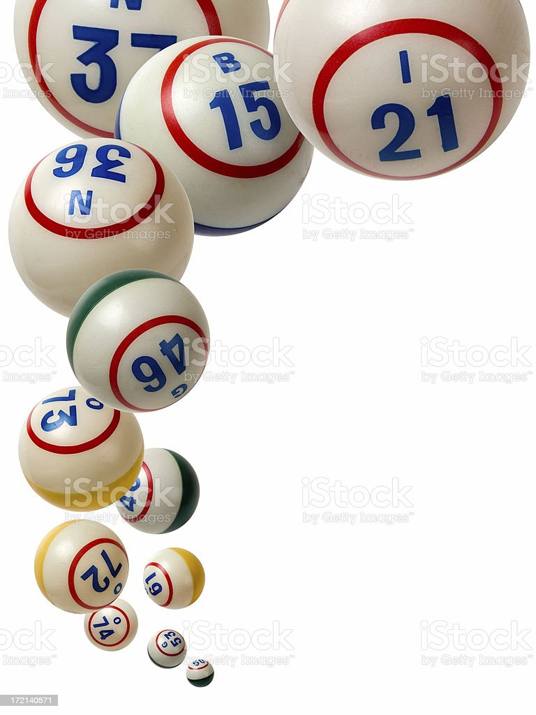 Bingo balls falling isolated on white background stock photo