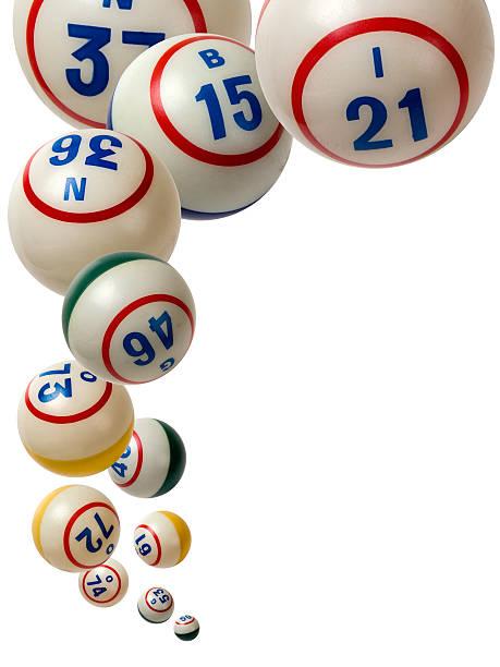 Bingo balls falling isolated on white background圖像檔
