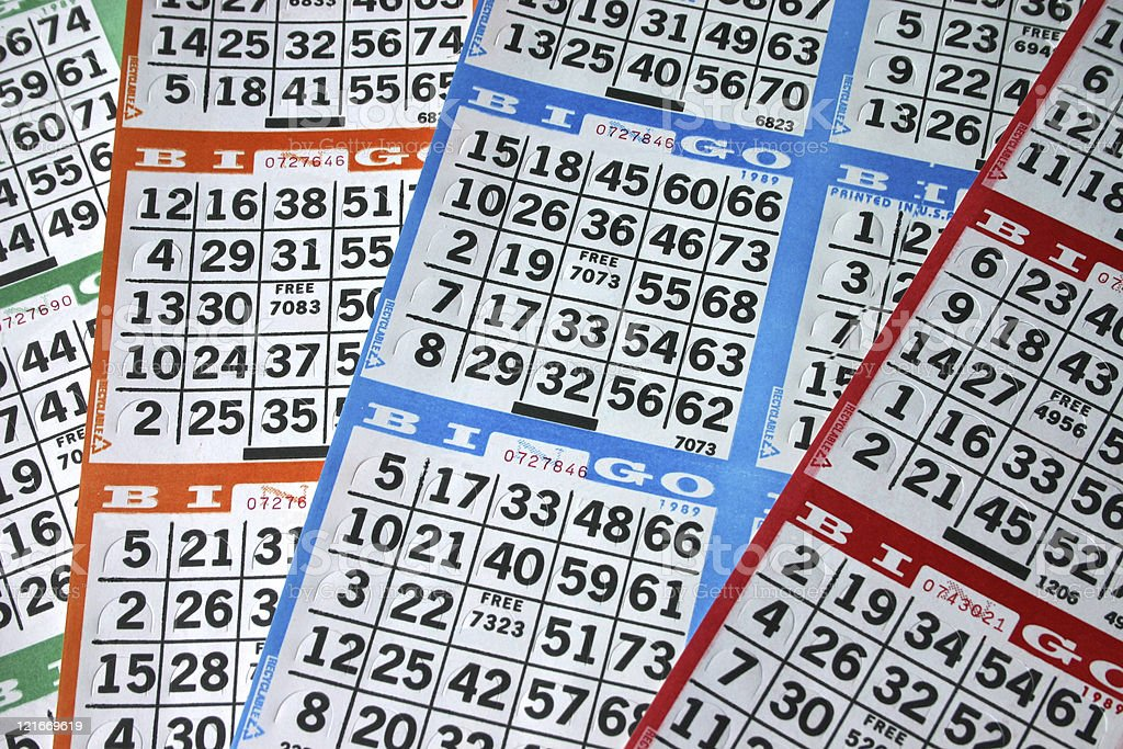 Bingo Cards of Different Colors stock photo