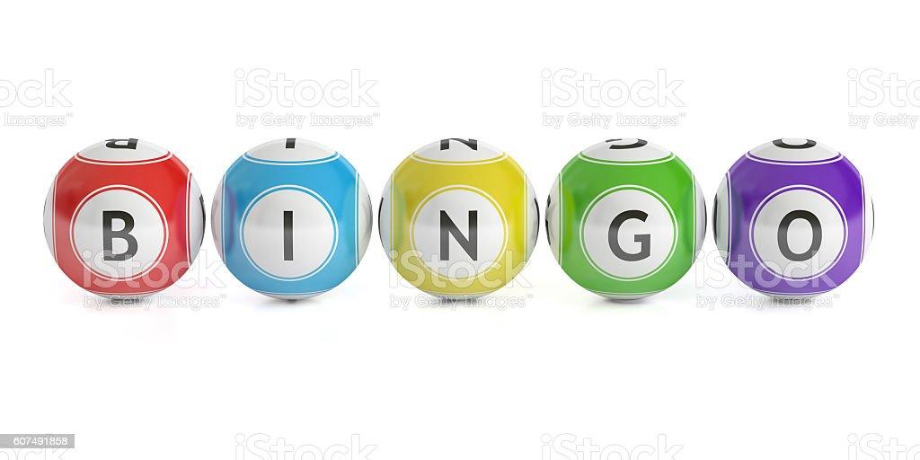 Conceito de Bingo, bolas de loteria. Renderização em 3D - foto de acervo