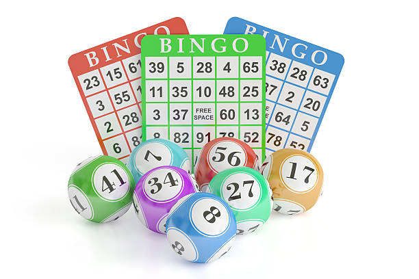 Bingo concept, lottery balls and cards. 3D rendering圖像檔