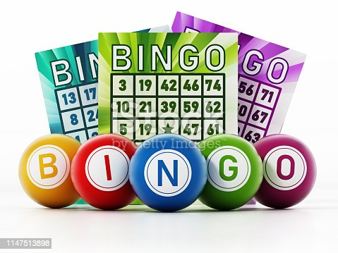 Bingo game cards and colored balls forming BINGO text isolated on white.