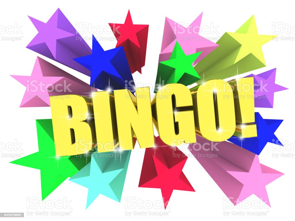 Bingo golden word among bright multicolored stars. 3d render stock photo