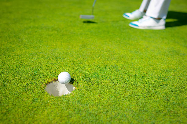 Bingo! Golfer Accurately Putting Golf Ball In The Hole stock photo