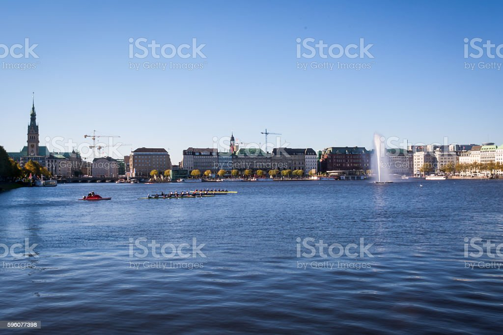 Binnenalster Inner Pond Cityscape Hamburg Germany royalty-free stock photo