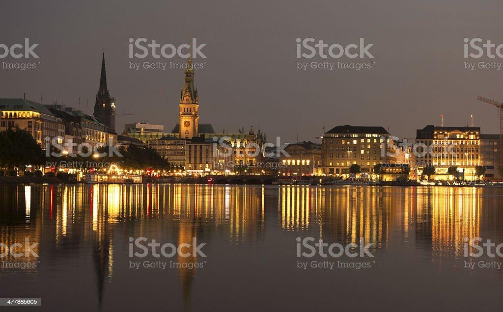 Binnenalster-Hamburg at twilight royalty-free stock photo