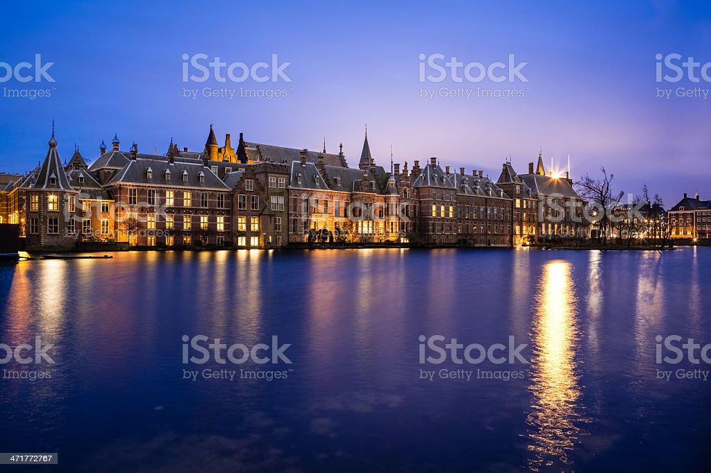Binnenhof (Inner Court) / Houses of Parliament, The Netherlands at Night stock photo