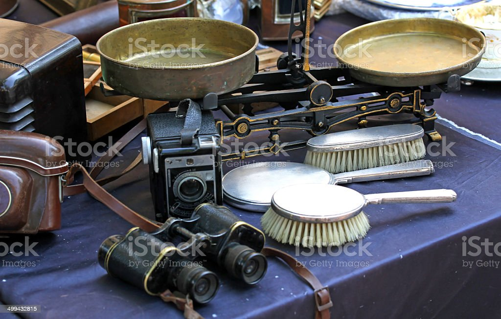 binocular balance and brushes and other vintage object for sale stock photo
