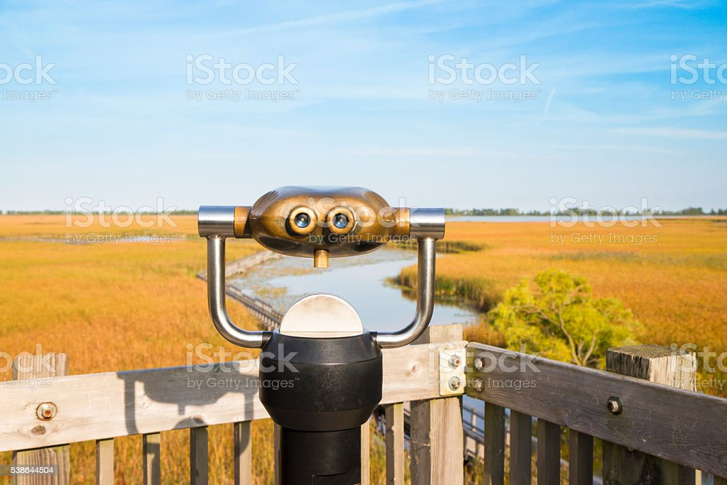Binocular Looking Out Into The Marsh At Point Pelee Ontario stock photo