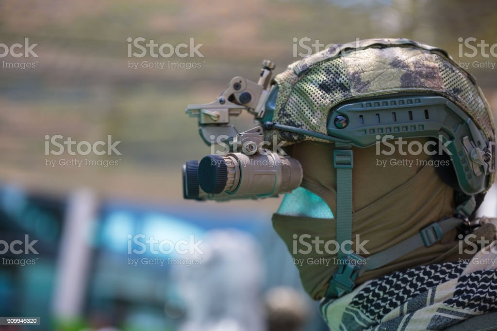 Binocular Night Vision Device on Military Helmet stock photo