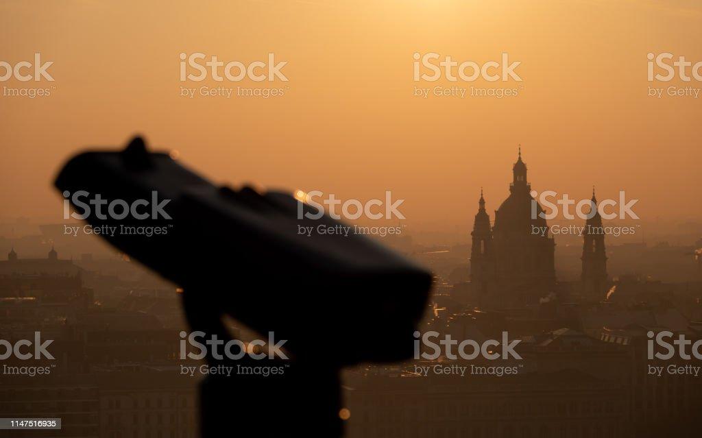 Binoculars and view of Budapest city in Hungary, Europe stock photo