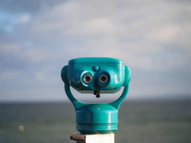 Binoculars at coast stock photo