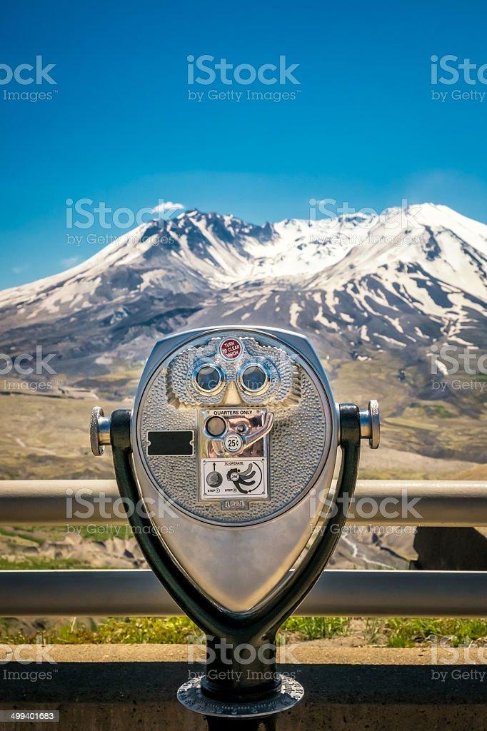 Binoculars at Mt. St. Helens stock photo