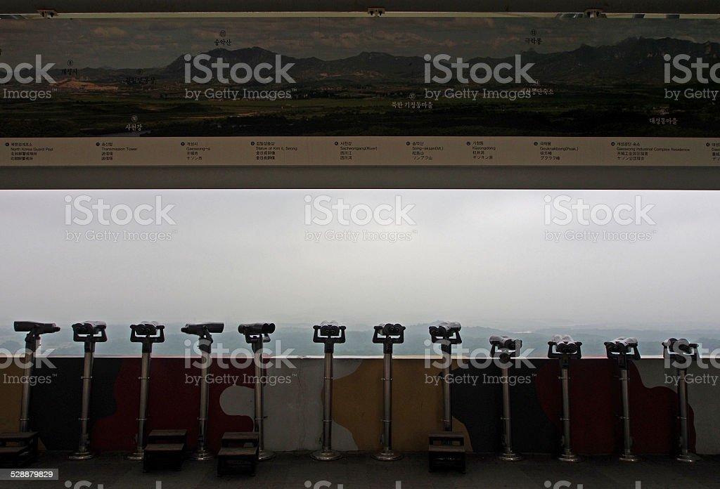 Binoculars for Observing North Korea from South Korea Panmunjom stock photo