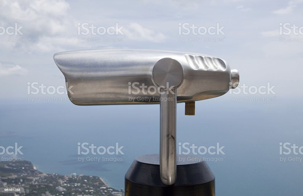 Binoculars for tourists at the Black Sea in Crimea (XL) royalty-free stock photo