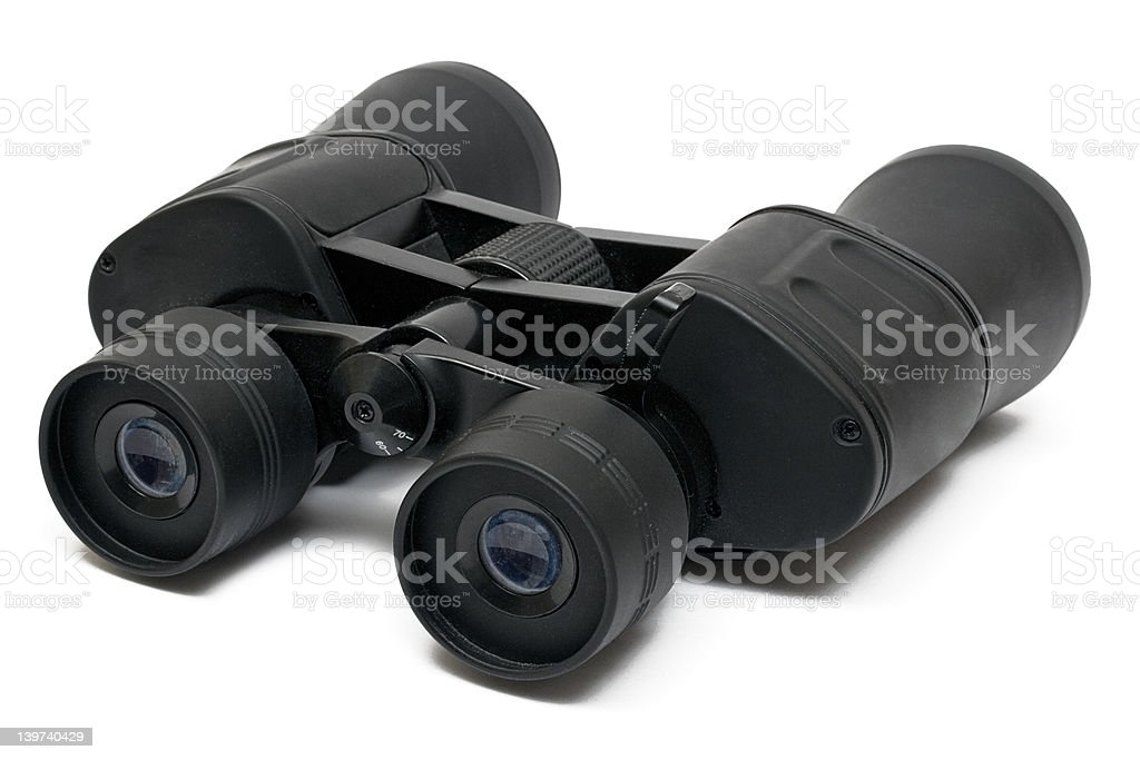 Binoculars Front - Top Side View w/ Path royalty-free stock photo