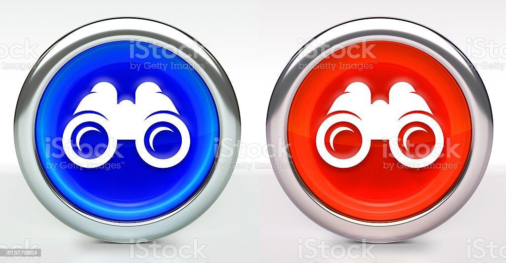 Binoculars Icon on Button with Metallic Rim stock photo