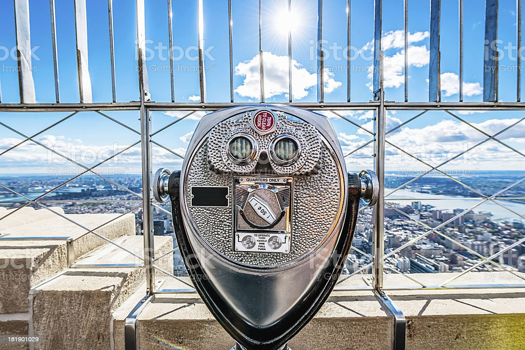 Binoculars, New York City Skyline Empire State Building stock photo