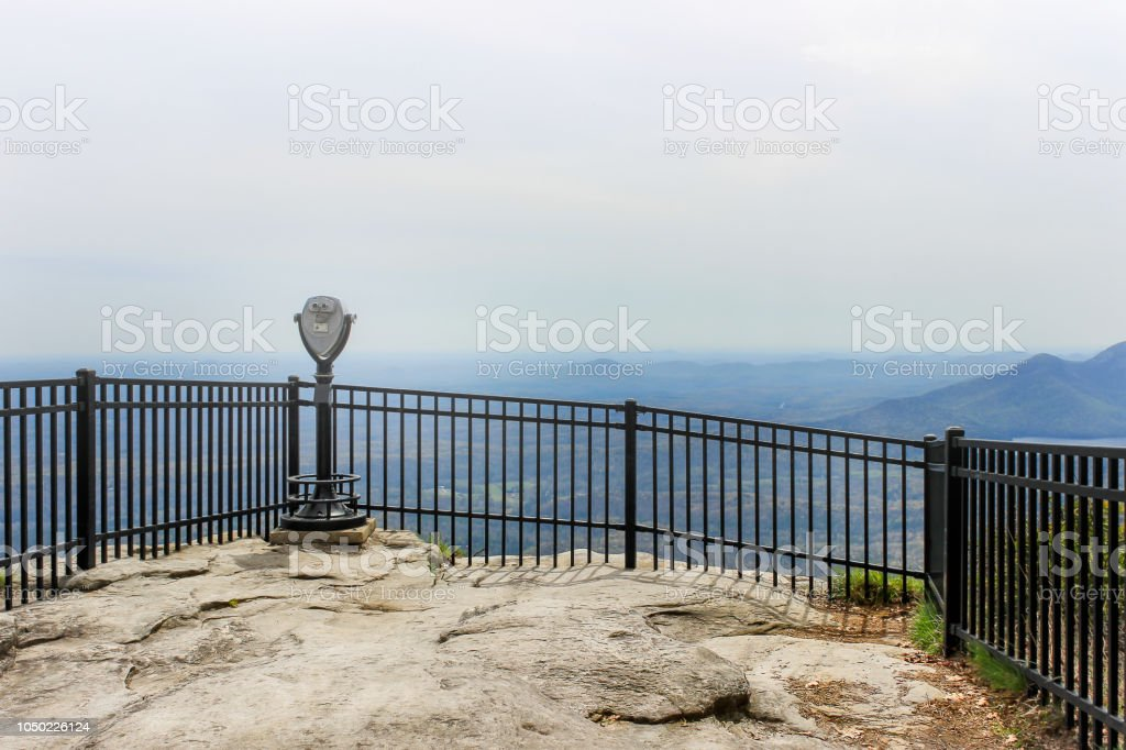 Binoculars on a stand in Caesars head state park overlook stock photo