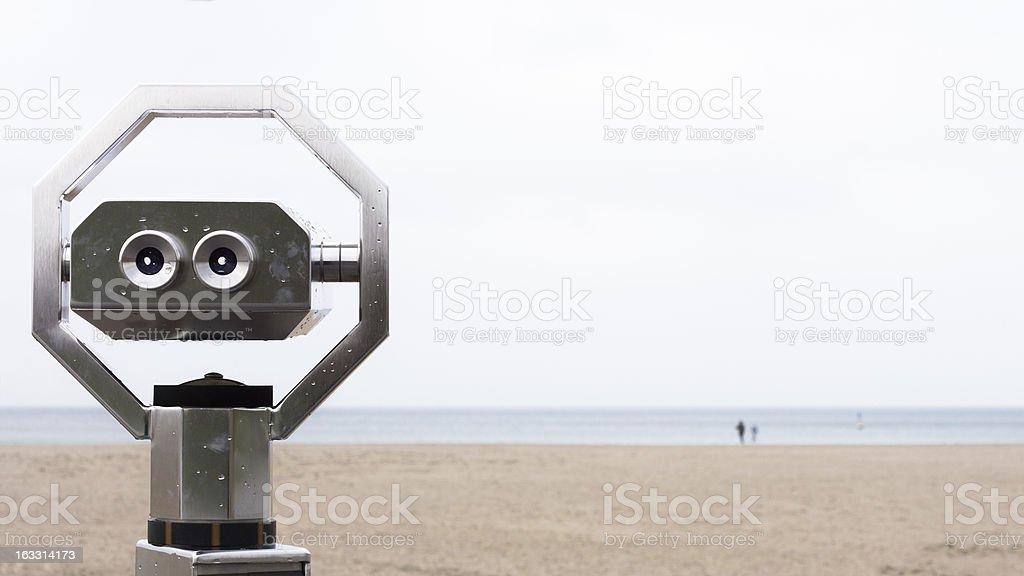 Binoculars on the beach in Travemuende stock photo