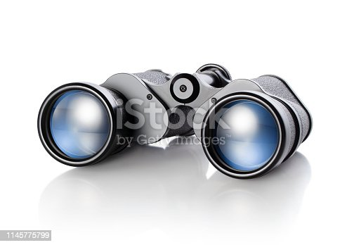 Binoculars on white background.