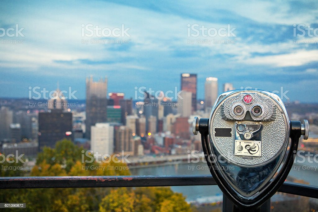 Binoculars To Pittsburgh Pennsylvania stock photo