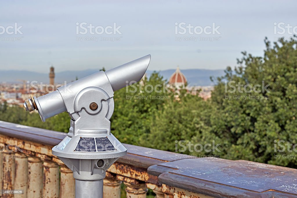 Binoculars with a wonderful view of Florence stock photo