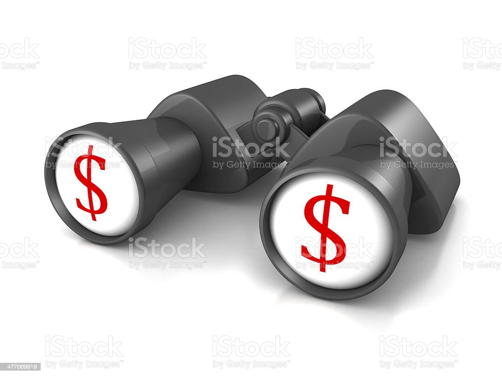 binoculars with red dollar symbols on white glass royalty-free stock photo