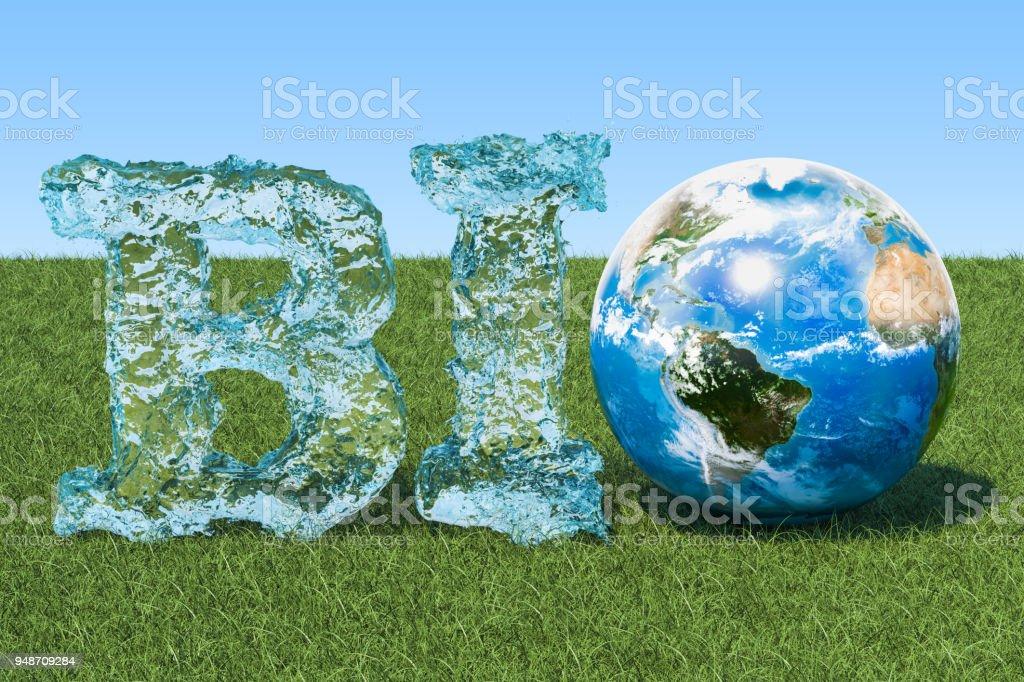Concepto bio. Inscripción de bio agua con globo de tierra en la hierba verde contra el cielo azul. - foto de stock