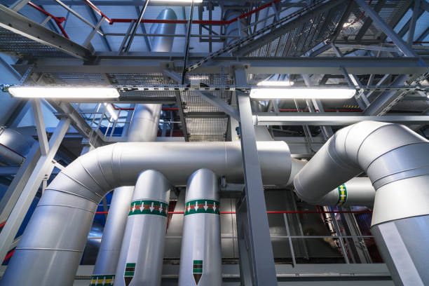 bio fuel boiler - cogeneration plant stock photos and pictures