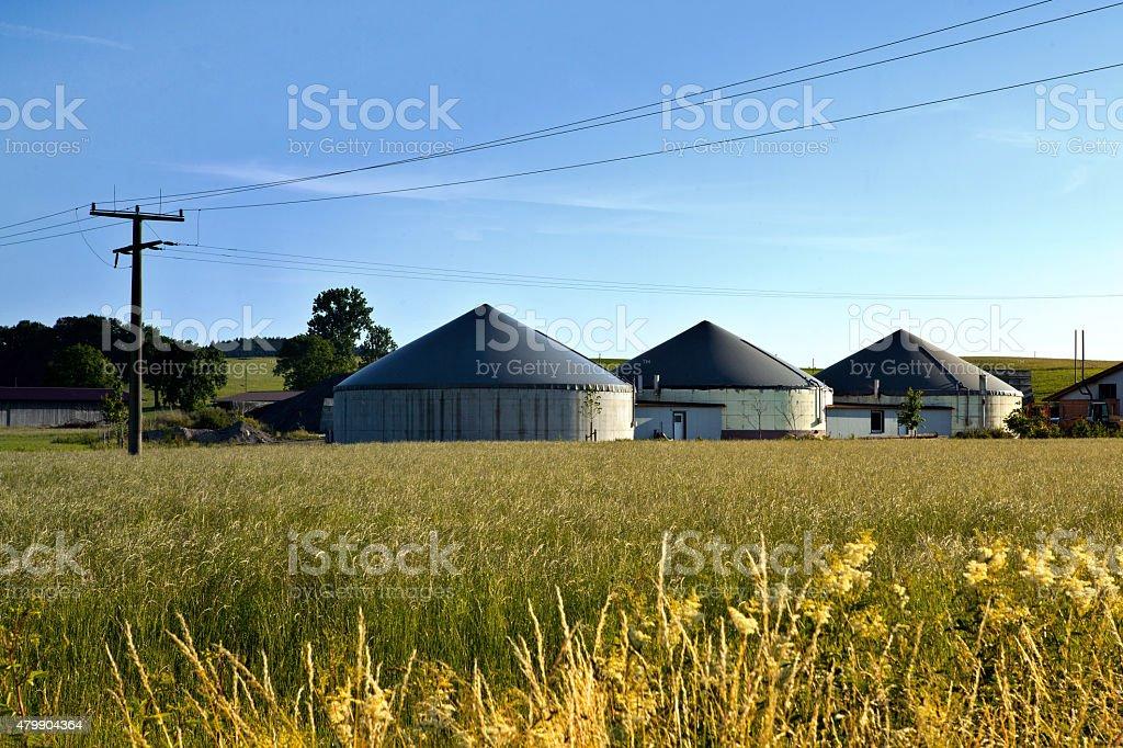 Bio gas plant in a field stock photo
