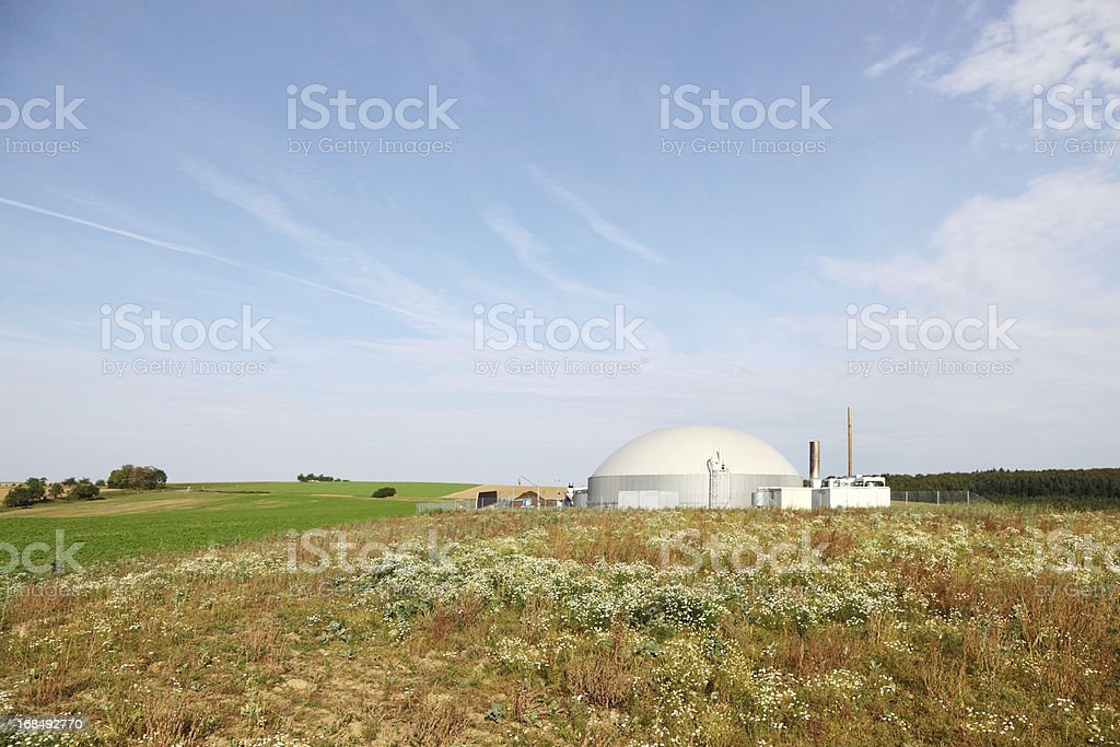 bio gas power generator in meadow royalty-free stock photo