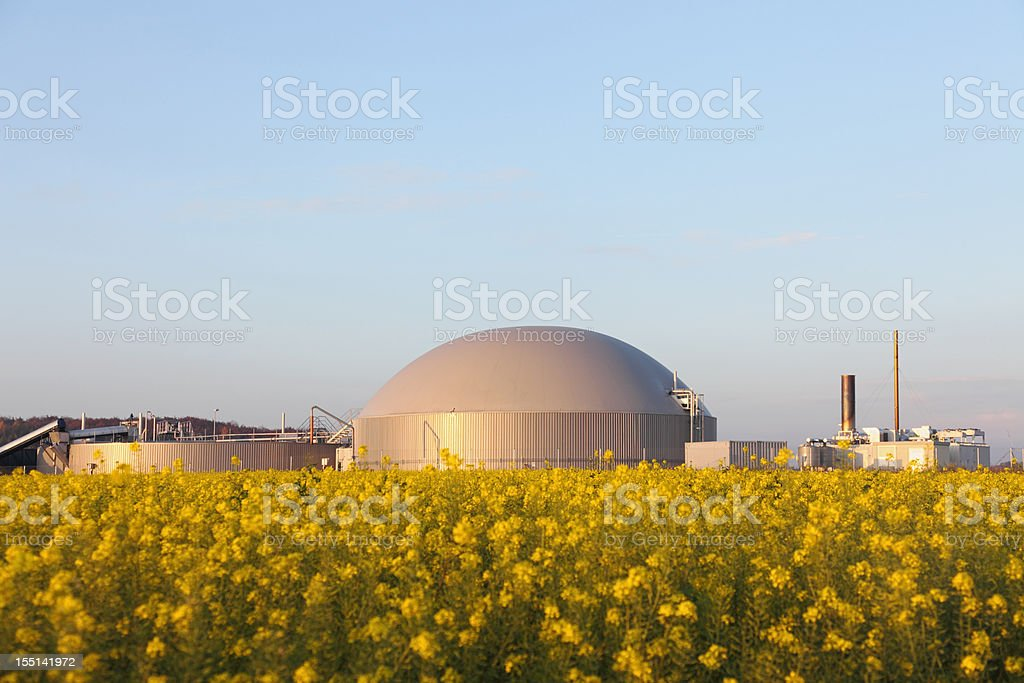 bio gas power plant and generator stock photo
