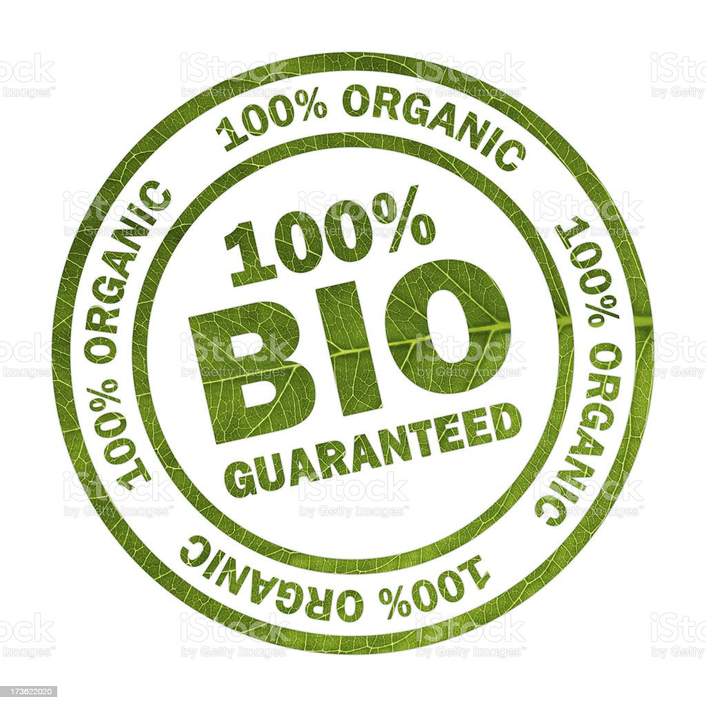 100% Bio - organic round stamp with clipping path royalty-free stock photo