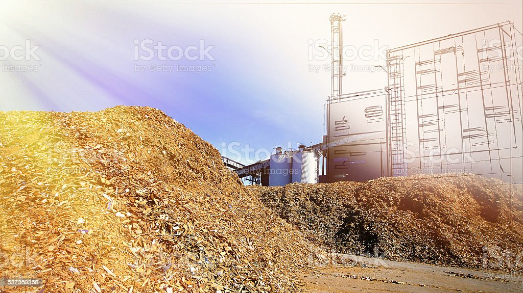 bio power plant drawing  with storage of wooden fuel stock photo