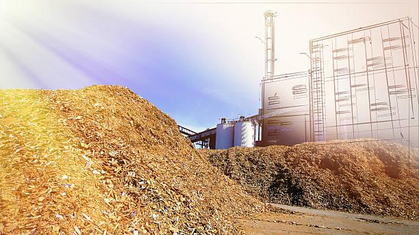 bio-Kraftwerk Zeichnung mit Lagerung von Holz-fuel  – Foto