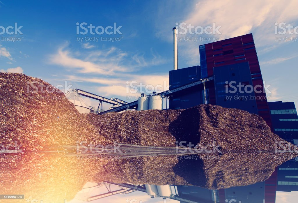 bio power plant with storage of wooden fuel against blue sky stock photo