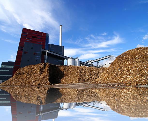 bio-Kraftwerk mit Lagerung von Holz-fuel – Foto