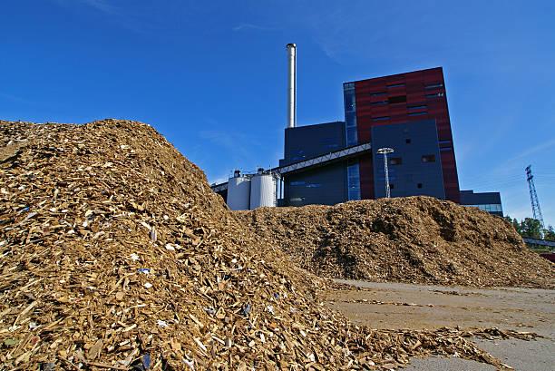 bio-Kraftwerk mit Lagerung von Holz-fuel (Biomasse) – Foto