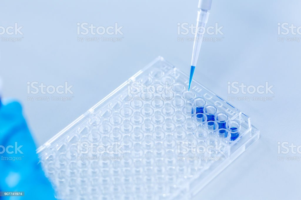 Biochemical analysis and Chemical analysis  in Lab. stock photo