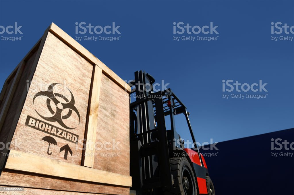 Biochemical cargo on forklift truck. stock photo