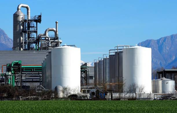 Biochemical industry plant with rows of silos in front Biochemical industry plant with rows of storage tanks in front biodiesel stock pictures, royalty-free photos & images