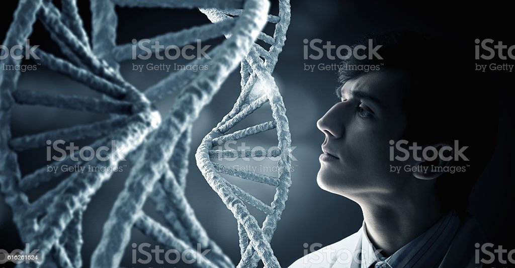 Biochemistry study and research . Mixed media stock photo