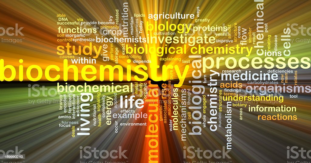 biochemistry wordcloud concept illustration glowing stock photo
